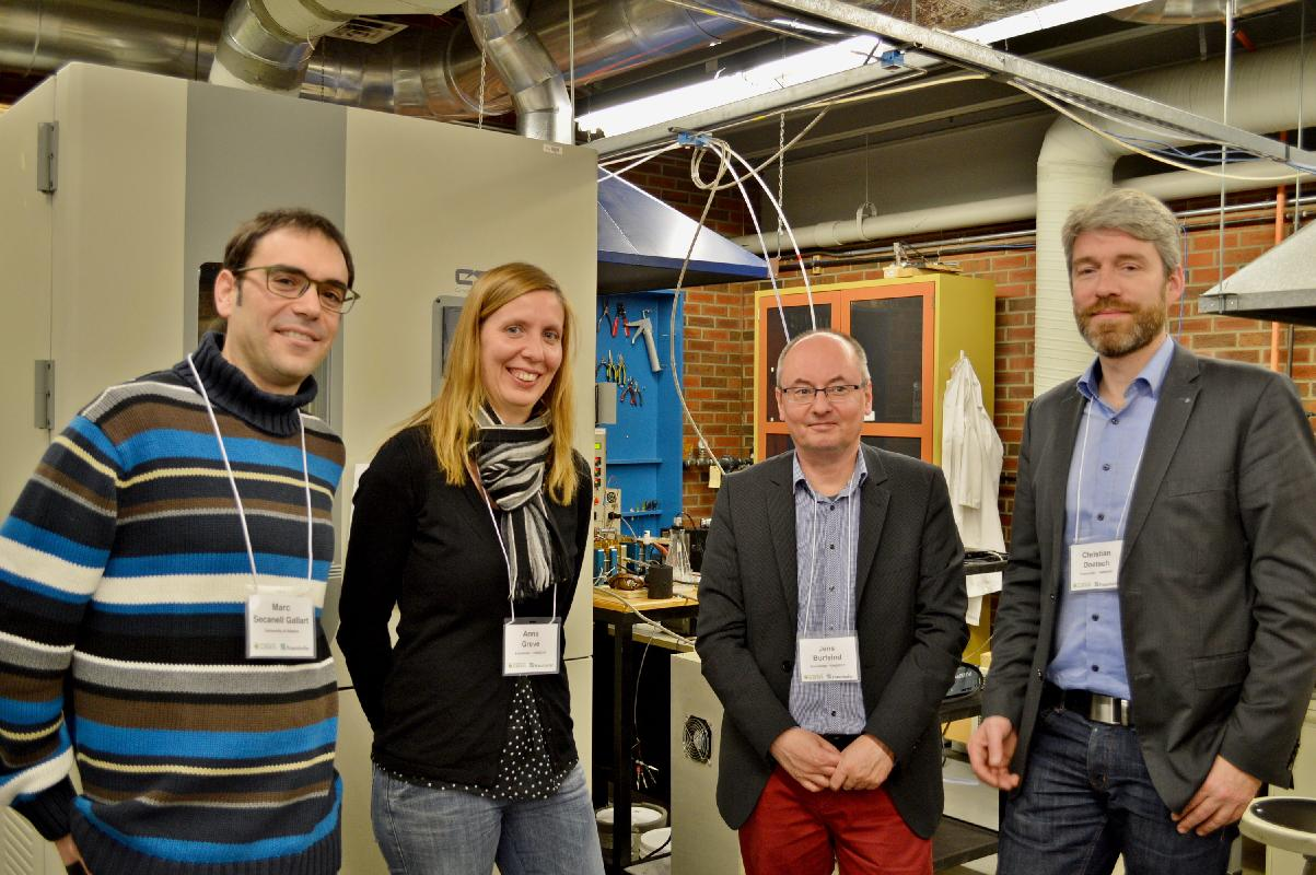 M. Secanell and the Fraunhofer UMSICHT representatives at the ESDLab.